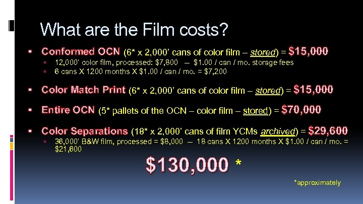 What are the Film costs? Conformed OCN (6* x 2, 000' cans of color