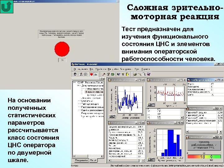 Сложная зрительномоторная реакция Тест предназначен для изучения функционального состояния ЦНС и элементов внимания операторской