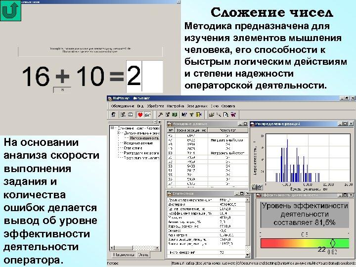 Сложение чисел Методика предназначена для изучения элементов мышления человека, его способности к быстрым логическим