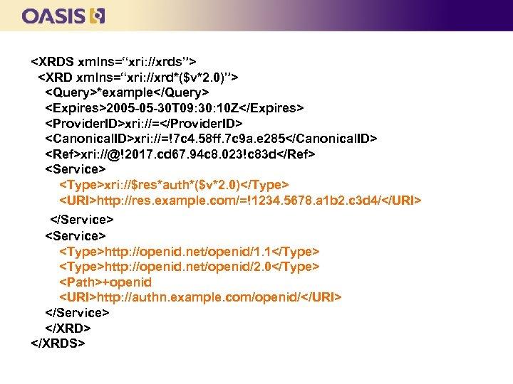 """<XRDS xmlns=""""xri: //xrds""""> <XRD xmlns=""""xri: //xrd*($v*2. 0)""""> <Query>*example</Query> <Expires>2005 -05 -30 T 09: 30:"""