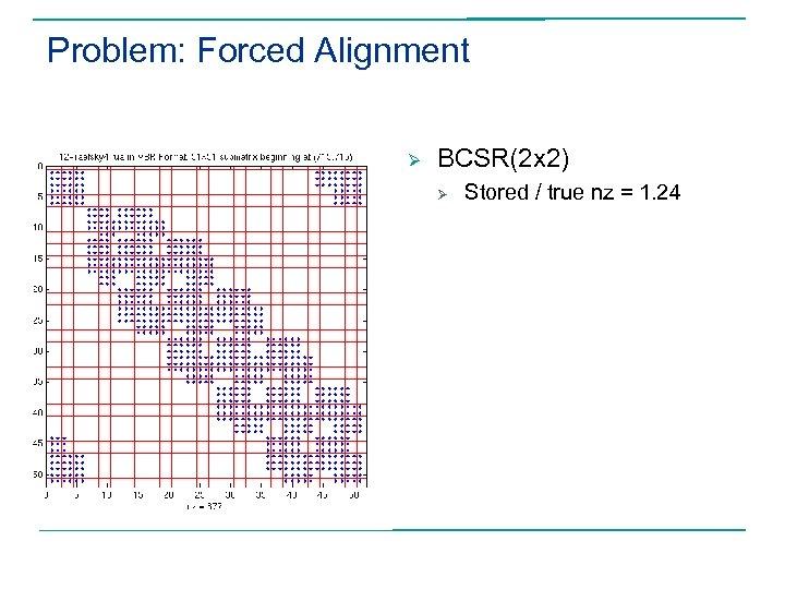 Problem: Forced Alignment Ø BCSR(2 x 2) Ø Stored / true nz = 1.