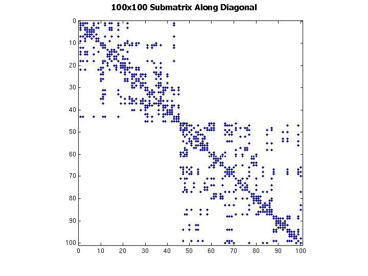 100 x 100 Submatrix Along Diagonal