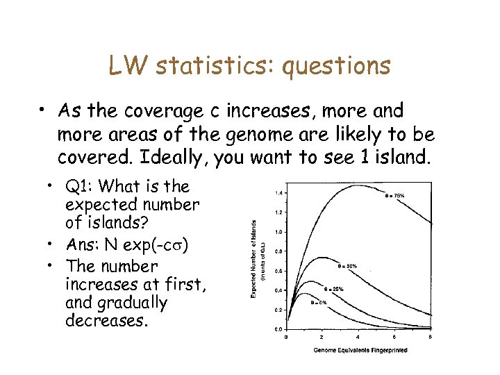 LW statistics: questions • As the coverage c increases, more and more areas of