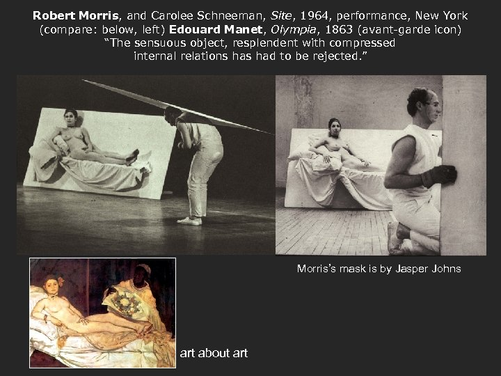 Robert Morris, and Carolee Schneeman, Site, 1964, performance, New York (compare: below, left) Edouard
