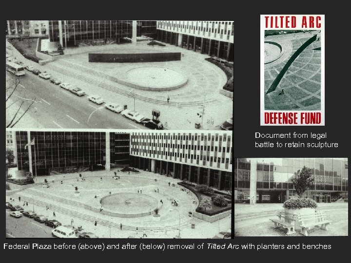 Document from legal battle to retain sculpture Federal Plaza before (above) and after (below)
