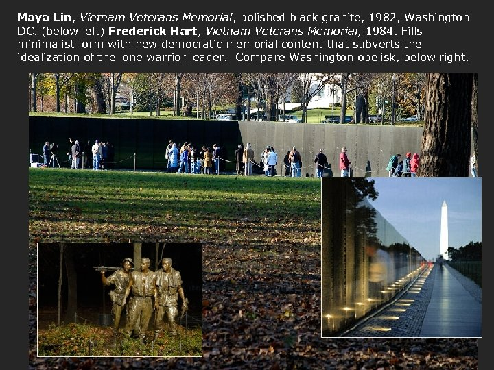 Maya Lin, Vietnam Veterans Memorial, polished black granite, 1982, Washington DC. (below left) Frederick