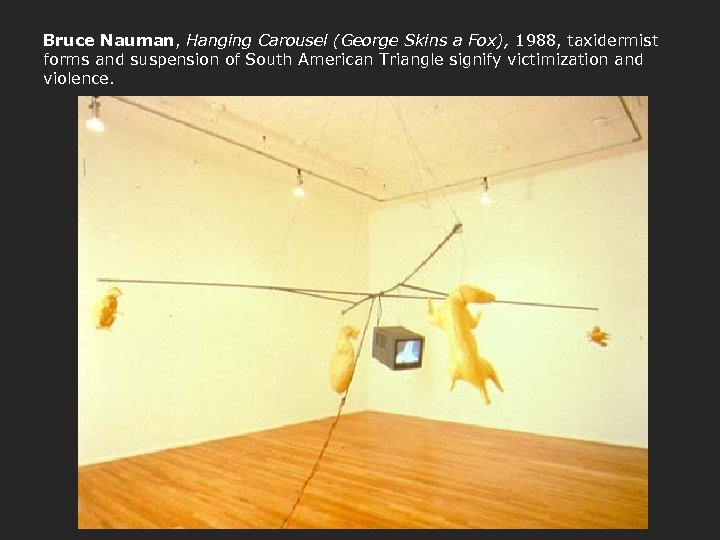 Bruce Nauman, Hanging Carousel (George Skins a Fox), 1988, taxidermist forms and suspension of