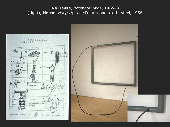 Eva Hesse, notebook page, 1965 -66 (right), Hesse, Hang Up, acrylic on wood, cloth,
