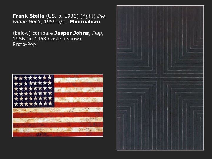 Frank Stella (US, b. 1936) (right) Die Fahne Hoch, 1959 o/c. Minimalism (below) compare
