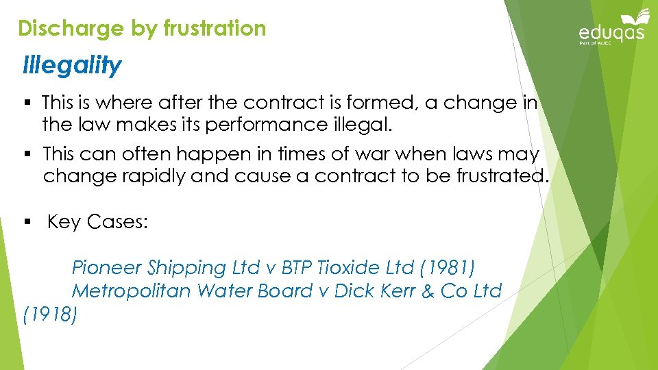 Discharge by frustration Illegality § This is where after the contract is formed, a