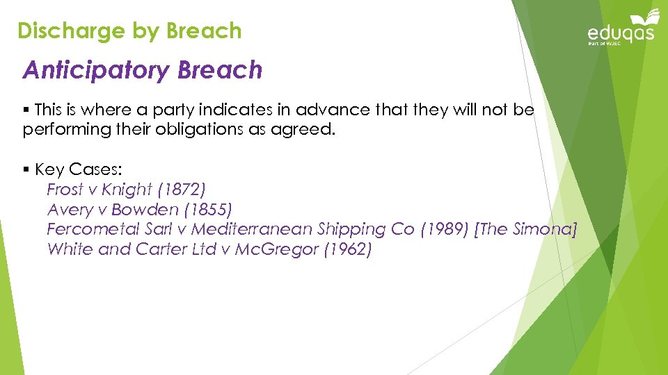 Discharge by Breach Anticipatory Breach § This is where a party indicates in advance