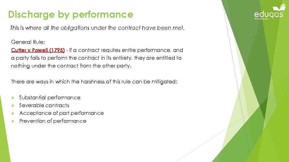 Discharge by performance This is where all the obligations under the contract have been
