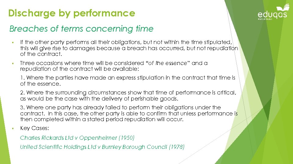 Discharge by performance Breaches of terms concerning time § If the other party performs