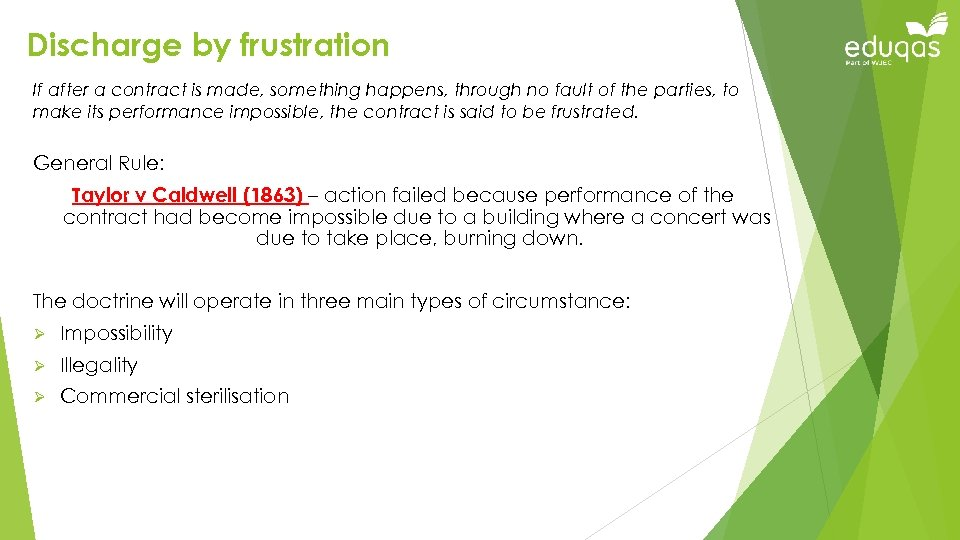 Discharge by frustration If after a contract is made, something happens, through no fault