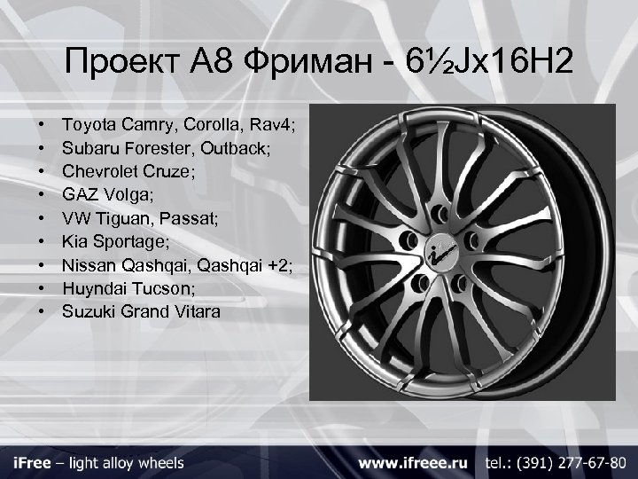 Проект А 8 Фриман - 6½Jх16 H 2 • • • Toyota Camry, Corolla,