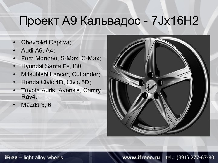 Проект А 9 Кальвадос - 7 Jх16 H 2 • • Chevrolet Captiva; Audi