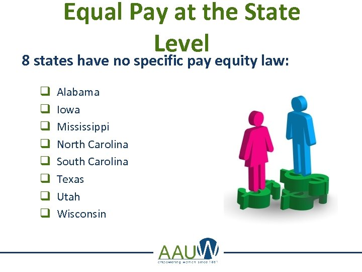 Equal Pay at the State Level 8 states have no specific pay equity law: