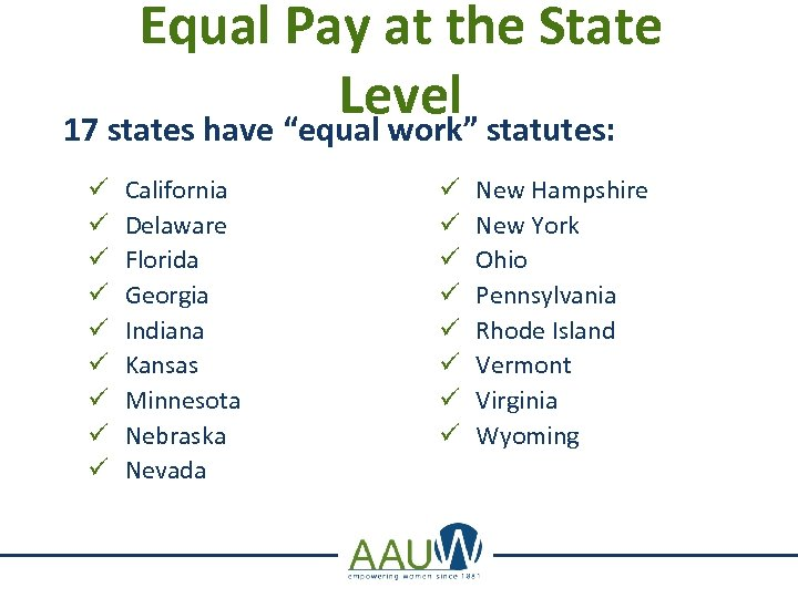 """Equal Pay at the State Level statutes: 17 states have """"equal work"""" ü ü"""