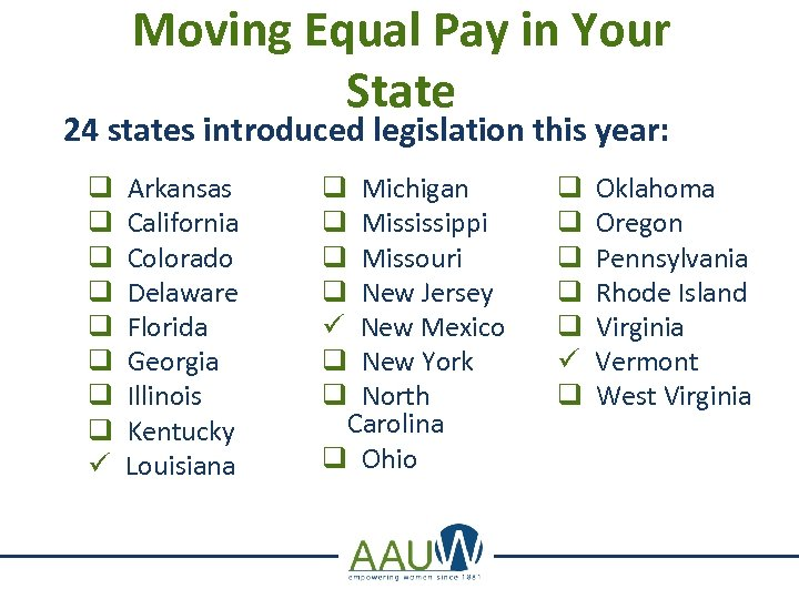 Moving Equal Pay in Your State 24 states introduced legislation this year: q q