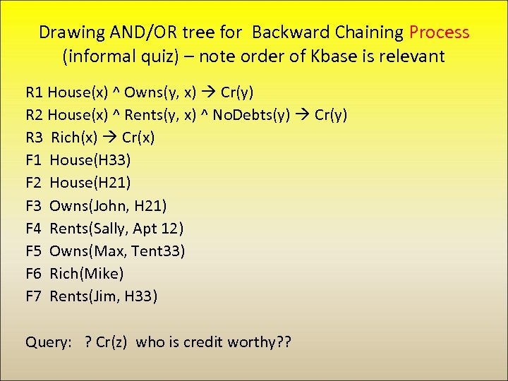 Drawing AND/OR tree for Backward Chaining Process (informal quiz) – note order of Kbase