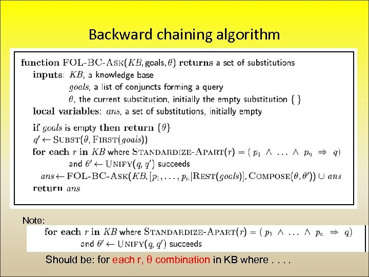 Backward chaining algorithm Note: Should be: for each r, θ combination in KB where.