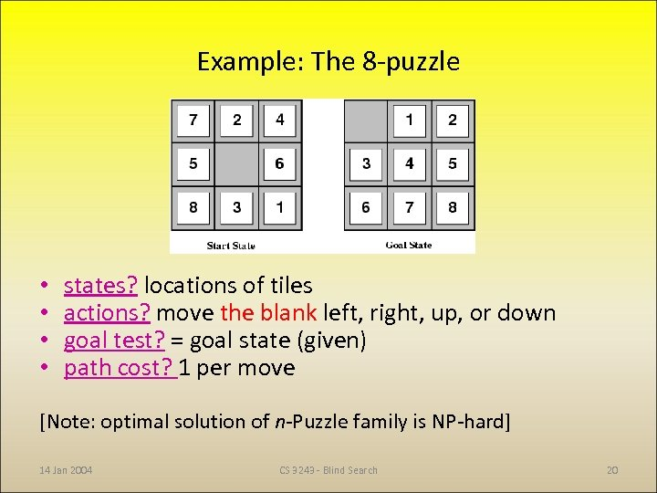 Example: The 8 -puzzle • • states? locations of tiles actions? move the blank
