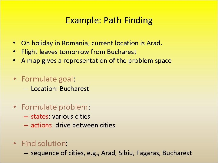 Example: Path Finding • On holiday in Romania; current location is Arad. • Flight