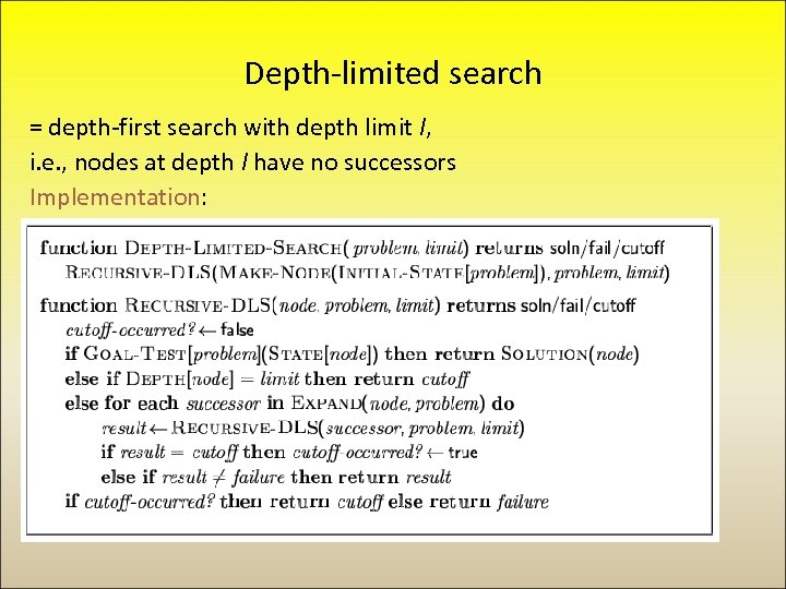 Depth-limited search = depth-first search with depth limit l, i. e. , nodes at