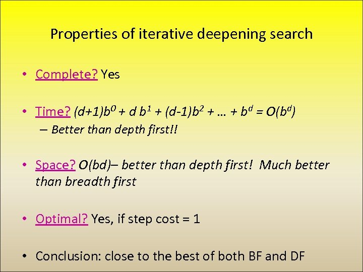 Properties of iterative deepening search • Complete? Yes • Time? (d+1)b 0 + d