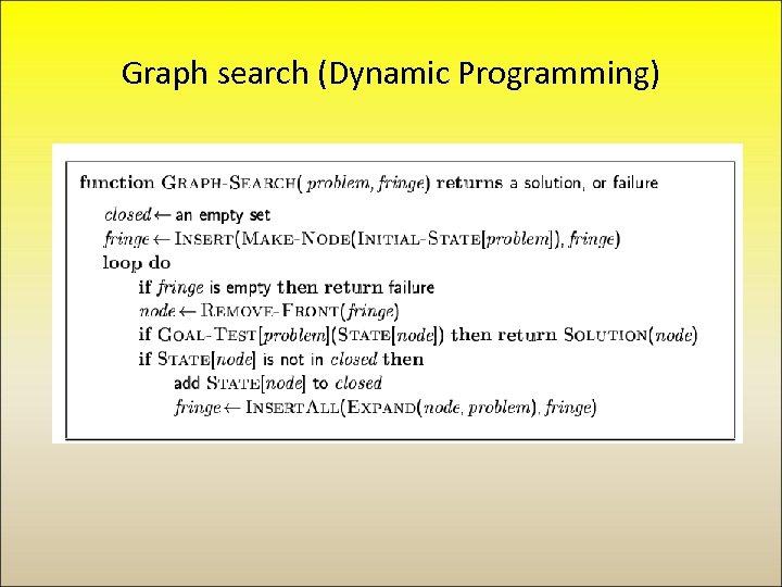 Graph search (Dynamic Programming)