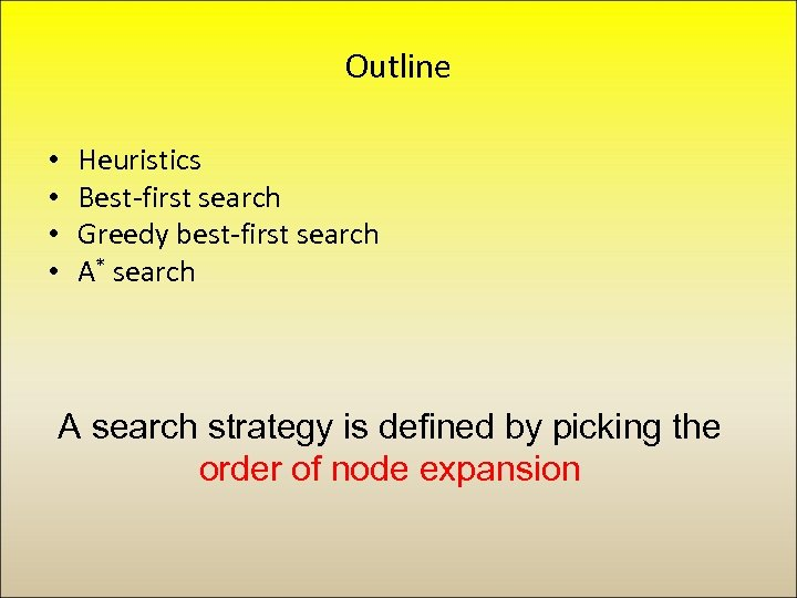 Outline • • Heuristics Best-first search Greedy best-first search A* search A search strategy