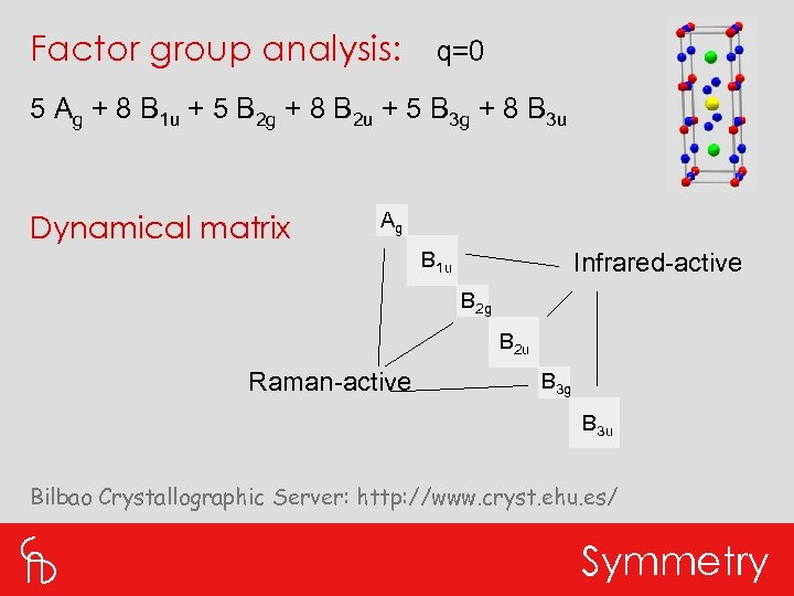 Factor group analysis: q=0 5 Ag + 8 B 1 u + 5 B