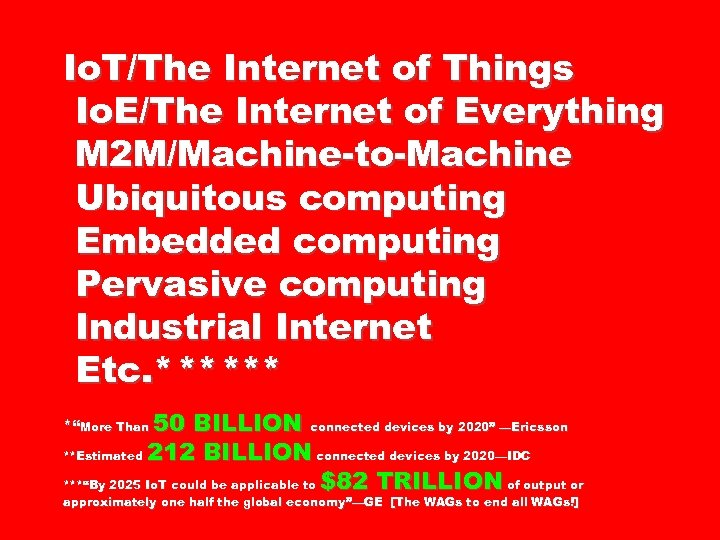 Io. T/The Internet of Things Io. E/The Internet of Everything M 2 M/Machine-to-Machine Ubiquitous