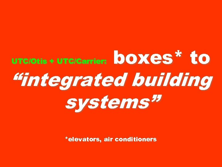 "UTC/Otis + UTC/Carrier: boxes* to ""integrated building systems"" *elevators, air conditioners"