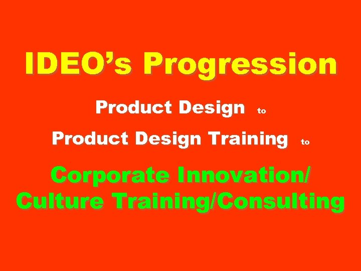 IDEO's Progression Product Design to Product Design Training to Corporate Innovation/ Culture Training/Consulting
