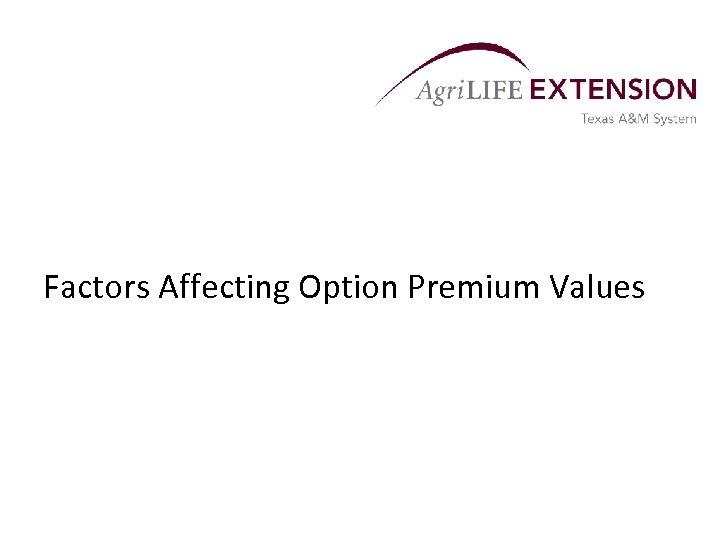 Factors Affecting Option Premium Values