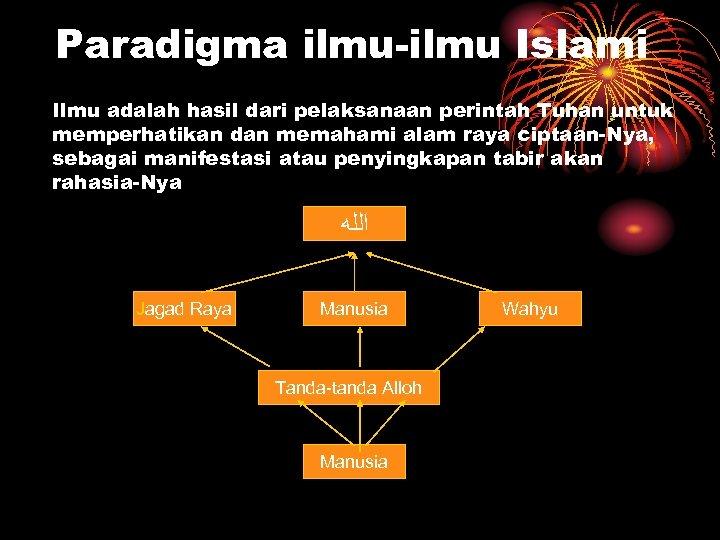 Paradigma ilmu-ilmu Islami Ilmu adalah hasil dari pelaksanaan perintah Tuhan untuk memperhatikan dan memahami