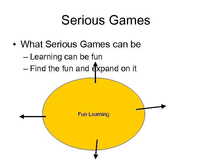 Serious Games • What Serious Games can be – Learning can be fun –