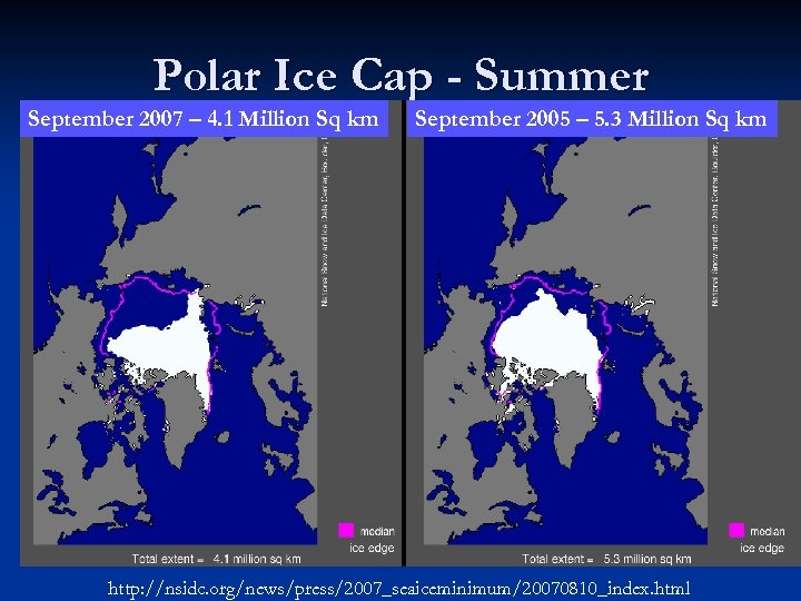 Polar Ice Cap - Summer September 2007 – 4. 1 Million Sq km September