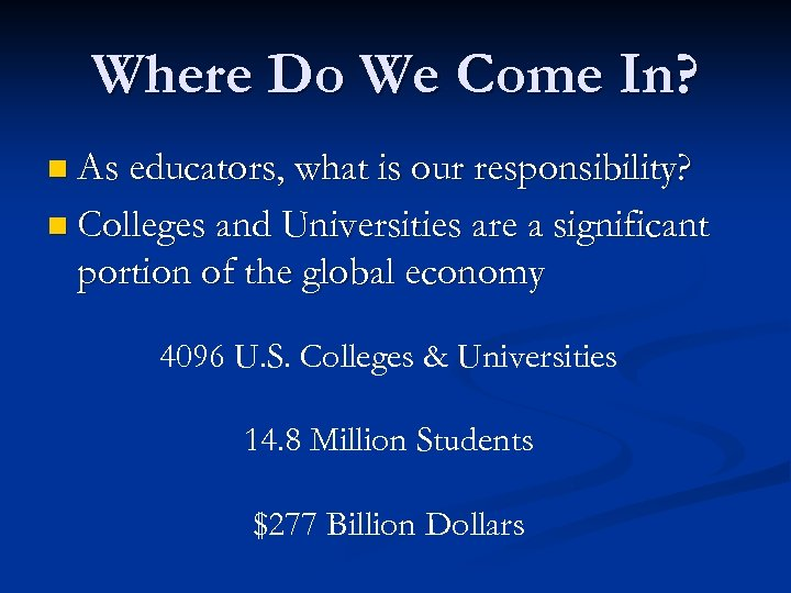 Where Do We Come In? n As educators, what is our responsibility? n Colleges
