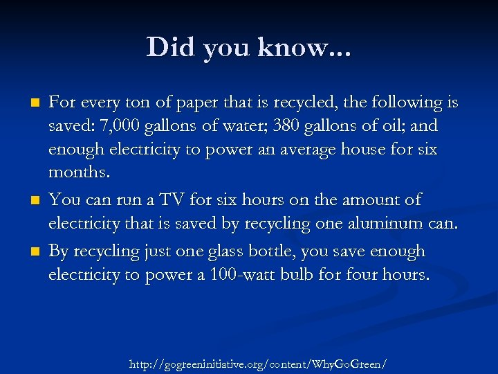 Did you know. . . n n n For every ton of paper that