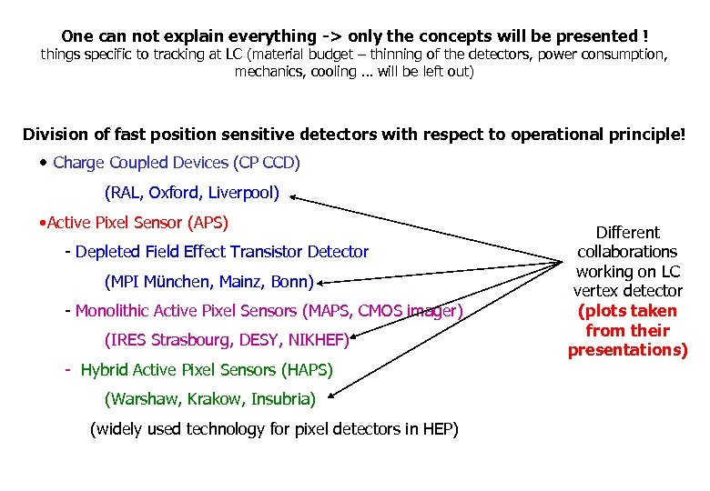 One can not explain everything -> only the concepts will be presented ! things