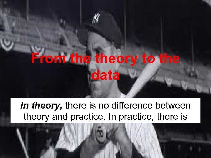 From theory to the data In theory, there is no difference between theory and