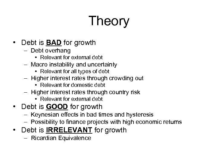 Theory • Debt is BAD for growth – Debt overhang • Relevant for external