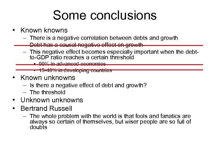 Some conclusions • Known knowns – There is a negative correlation between debts and