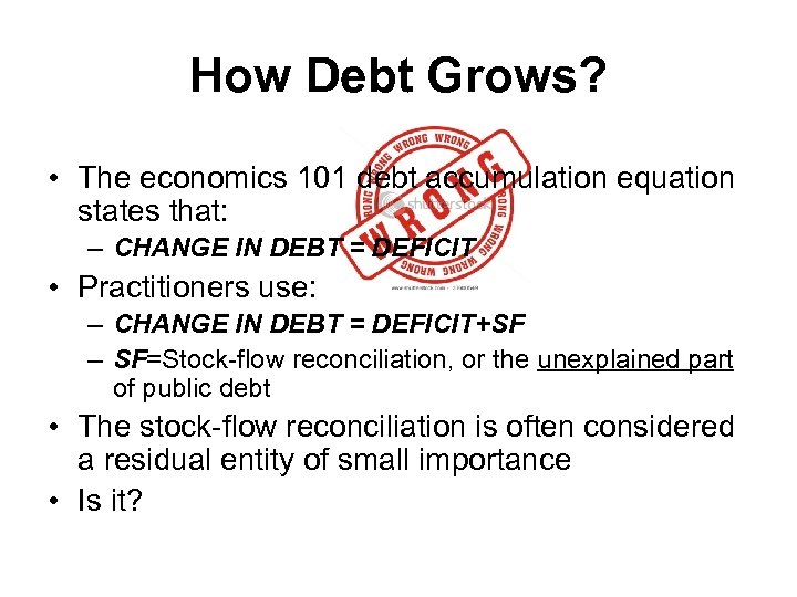 How Debt Grows? • The economics 101 debt accumulation equation states that: – CHANGE