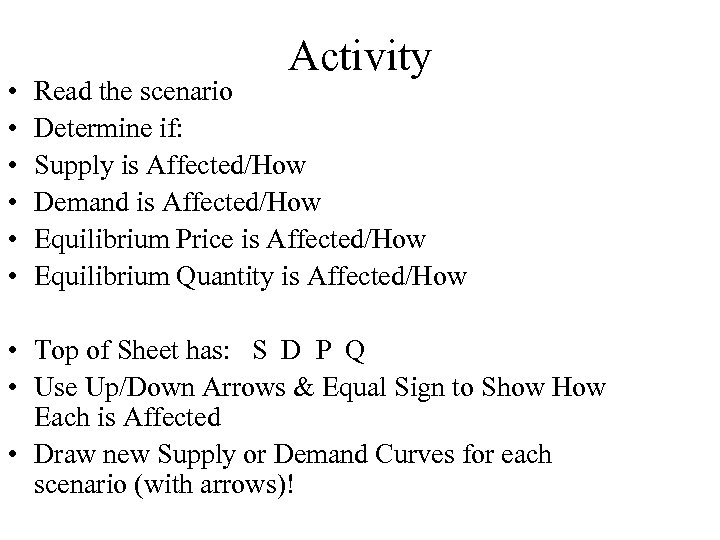 • • • Activity Read the scenario Determine if: Supply is Affected/How Demand