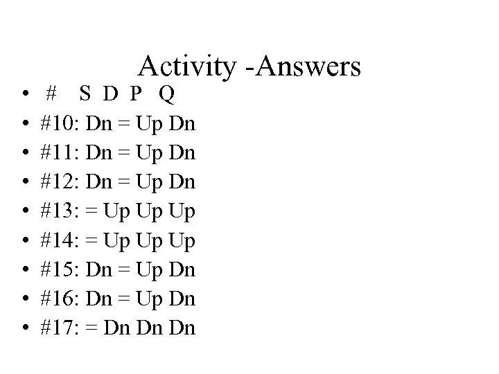 • • • Activity -Answers # S D P Q #10: Dn =