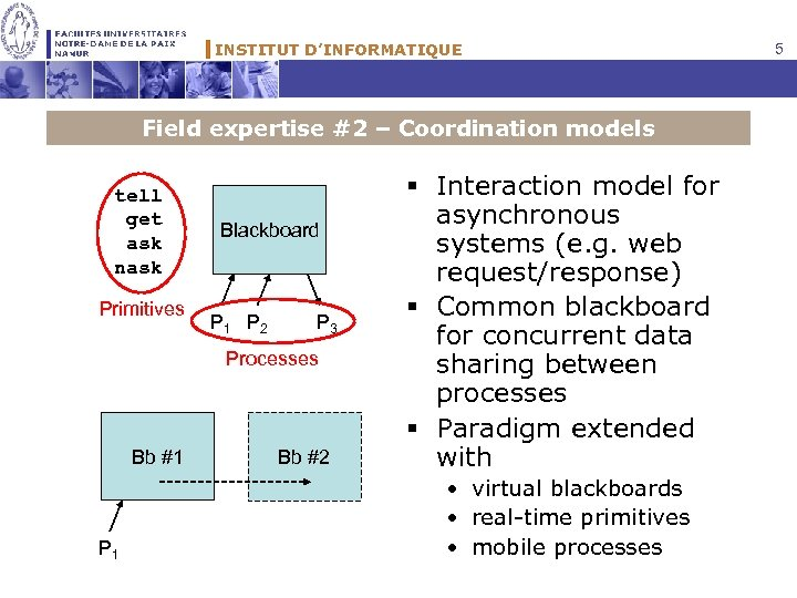 INSTITUT D'INFORMATIQUE Field expertise #2 – Coordination models tell get ask nask Primitives Blackboard