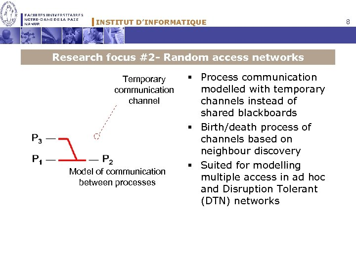 INSTITUT D'INFORMATIQUE Research focus #2 - Random access networks Temporary communication channel Model of